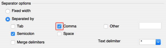 OpenOffice - Separator Options - Comma